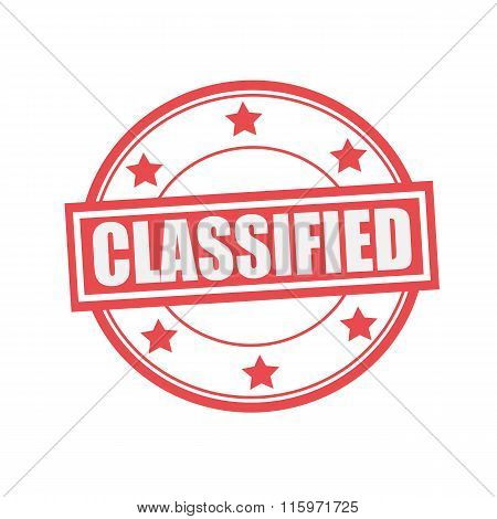 Classified White Stamp Text On Circle On Red Background And Star