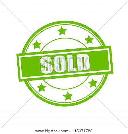 Sold White Stamp Text On Circle On Green Background And Star