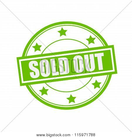 Sold Out White Stamp Text On Circle On Green Background And Star