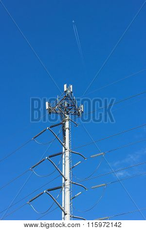 Communication and power lines.