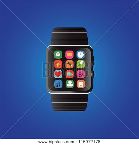 Smart Watch With Icons.