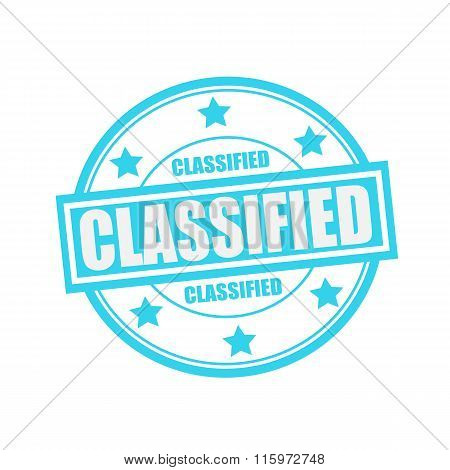 Classified White Stamp Text On Circle On Blue Background And Star