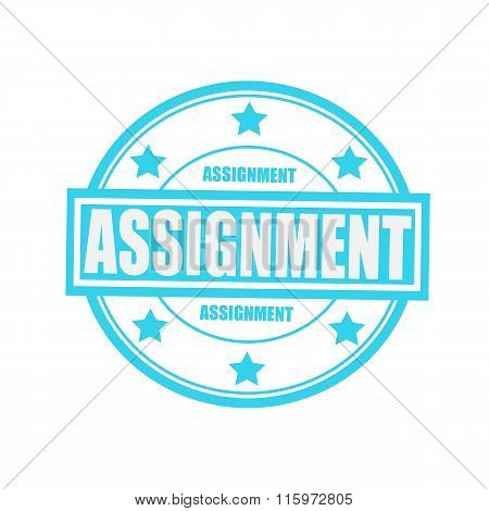 Assignment White Stamp Text On Circle On Blue Background And Star