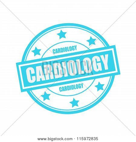 Cardiology White Stamp Text On Circle On Blue Background And Star