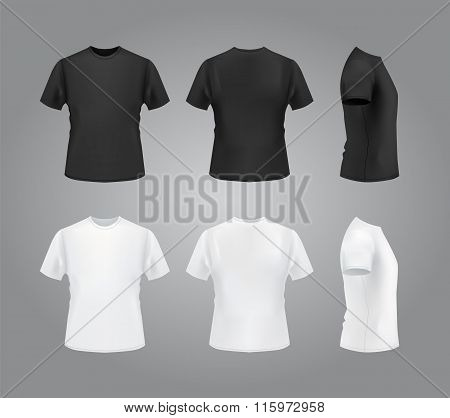 T-shirt mockup set, front, side, back view