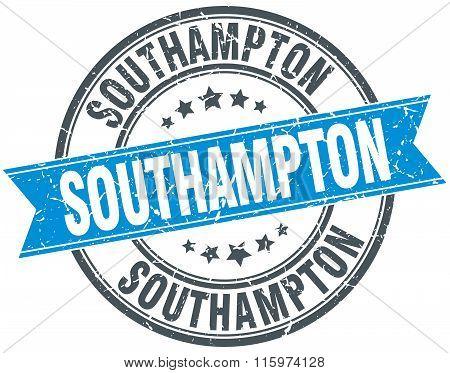 Southampton blue round grunge vintage ribbon stamp