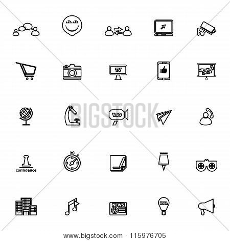 Media Marketing Line Icons On White Background