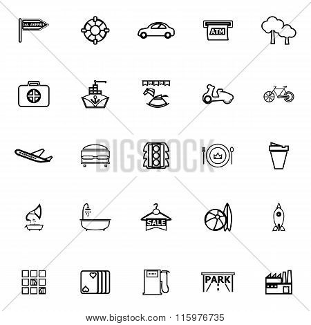 Map Place Line Icons On White Background