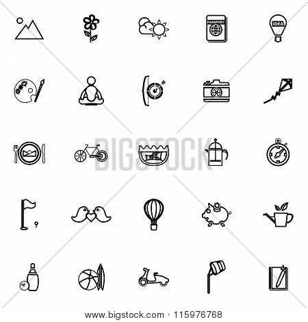 Slow Life Activity Line Icons On White Background