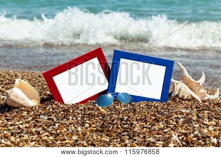 Photo Frame On The Beach, Photography On The Beach, Sea Shells,