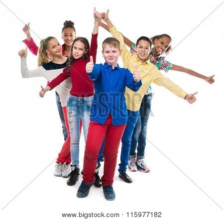 classmates standing one by one with their hands and thumbs up isolated on white background