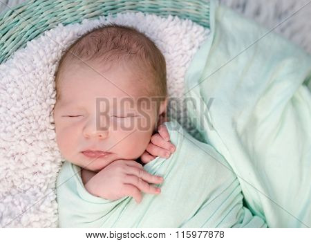 sweet wrapped in a nappy newborn baby sleeping on a soft blanket