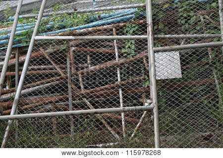 Stack Of Old Steel Mesh Wall