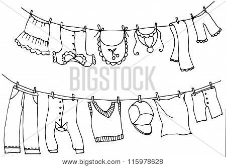 Wash clothes on a rope