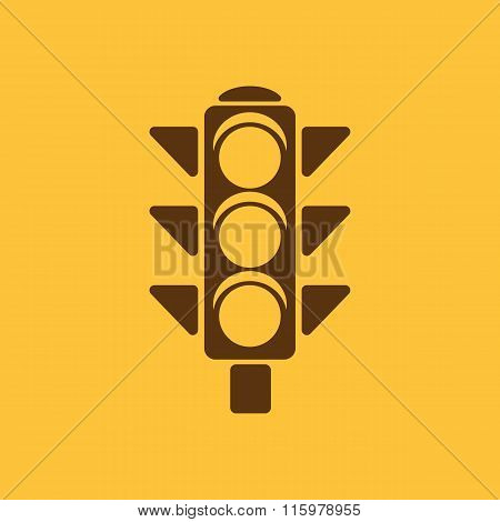 The traffic light icon. Stoplight and  semaphore, crossroads symbol. Flat