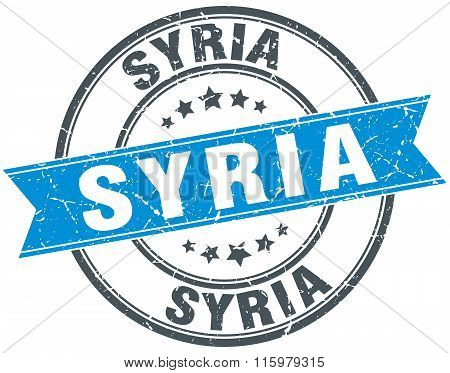 Syria blue round grunge vintage ribbon stamp