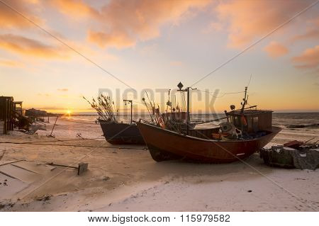 fishing boats on the coast of the Baltic Sea