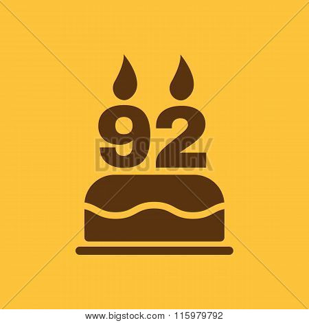 The birthday cake with candles in the form of number 92 icon. Birthday symbol. Flat