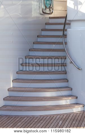 Wooden Stairs Up On Sundeck Of The Luxury Yacht
