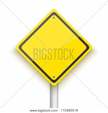 Vector Road Sign. Realistic Vector EPS10 Yellow Isolated Road Si