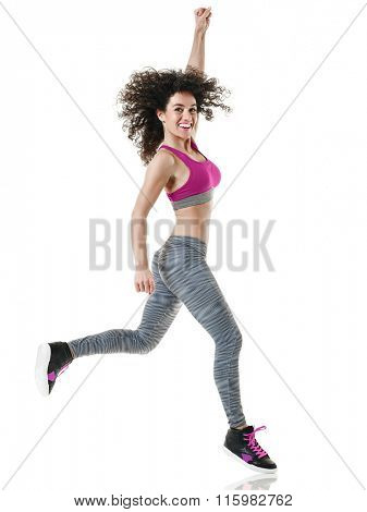 woman zumba dancer dancing fitness exercises