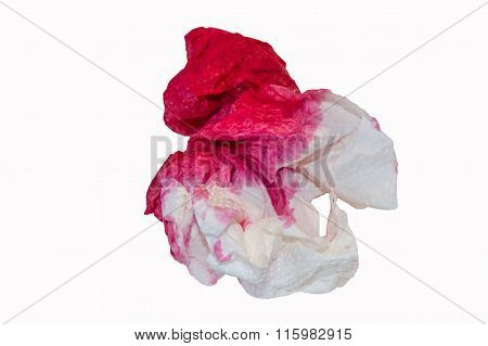 Paper Handkerchief With Blood Stains.