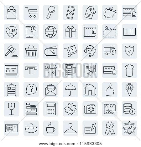 E-commerce. Outline Web Icons Set.vector Symbols. Vector Illustration