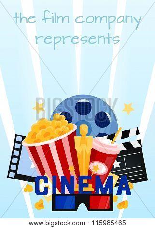 Cinema vector illustration.Popcorn, drinks , film strip and tick