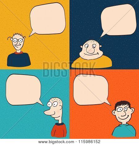 Comic faces with speech bubbles. Vector cartoon illustration.