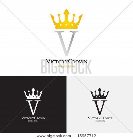 Vector Template Of Victory Crown Logo