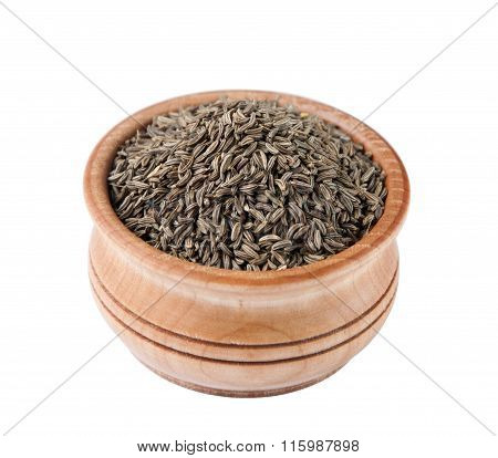 Caraway Seeds In A Wooden Bowl Isolated On White Background