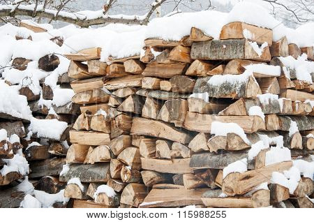 Stacked Wood Covered With Snow. Background.