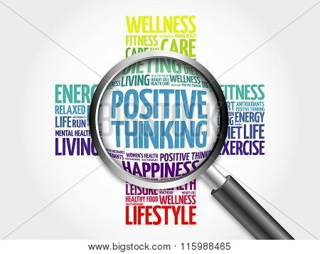 Positive thinking word cloud with magnifying glass, health concept