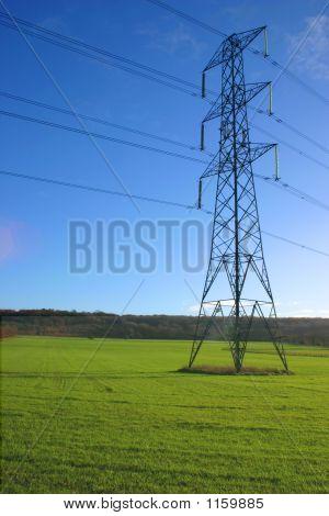 Electricity Pylon In Meadow