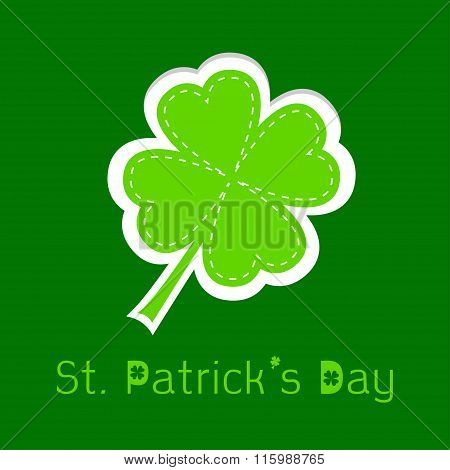 Paper Clover Leaf. Dash Line. Happy St. Patricks Day.