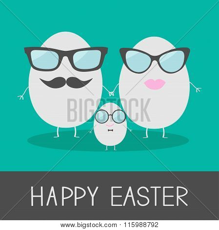 Egg Easter Family With Lips, Mustaches And Eyeglasses. Cute And