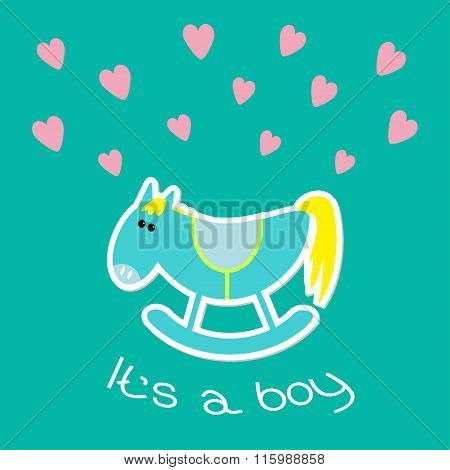 Baby Boy Shower Card With Cute Horse. Flat Design Style.