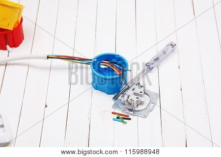 Set Of Electronic Tools And Components On White Background