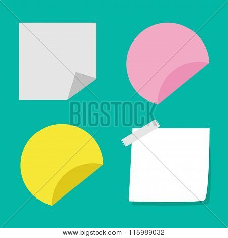 Adhesive Paper Notes And Tag Set. Template. Flat Design Style.