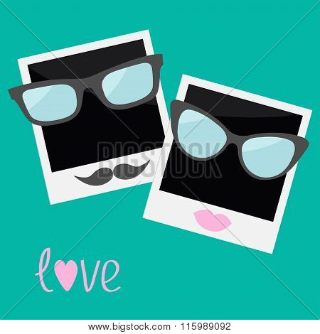 Two Instant Photos With Lips, Moustache And Glasses. Flat Design