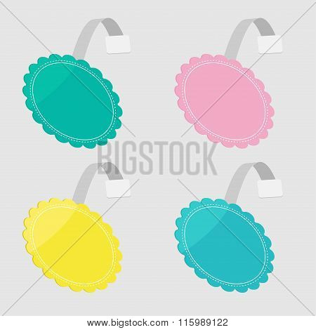 Wobbler Set  In Shape Of Round Flower. Empty Template. Flat Desi