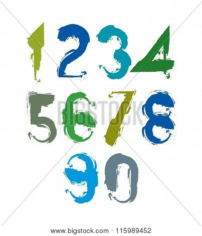 Multicolored Handwritten Numbers, Vector Doodle Brushed Figures, Hand-painted Set Of Numbers