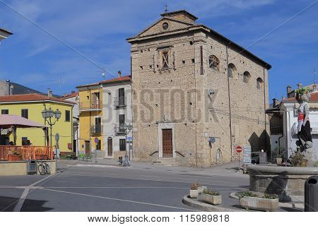 Corfinio, Italy - September 06,2015: Church Of The Madonna Del Soccorso - Corfinio, L'aquila, In The