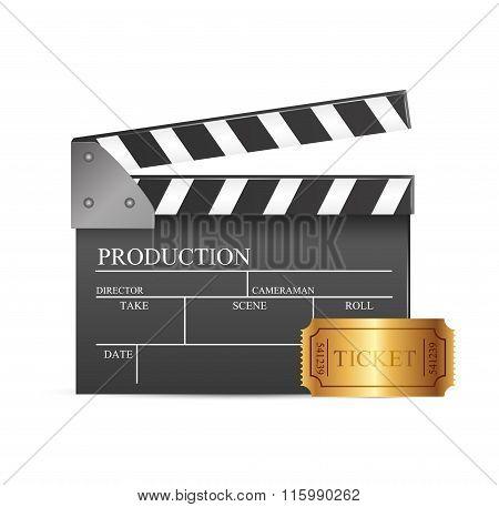 Black cinema clapper isolated
