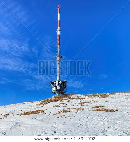 Telecommunication Tower On The Top Of Mount Rigi