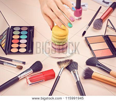 Still life of fashion woman, essentials cosmetics