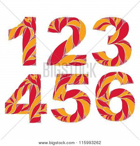 Vector Numeration Decorated With Seasonal Orange Autumn Leaves, 1, 2, 3, 4, 5, 6. Vintage Ornamental