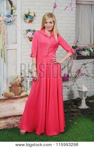 Beautiful Young Woman In The Long Dress