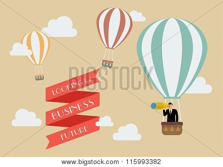 Businessman Looking For Business In A Hot Air Balloon