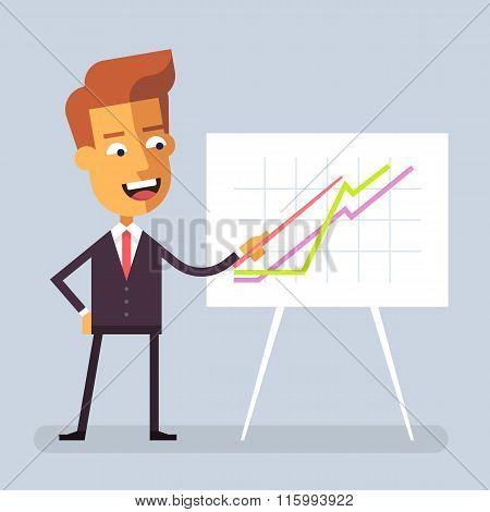 Businessman is giving presentation. Flat. Vector.